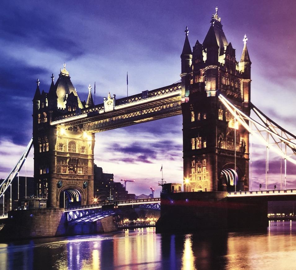 Tower Bridge in London at night